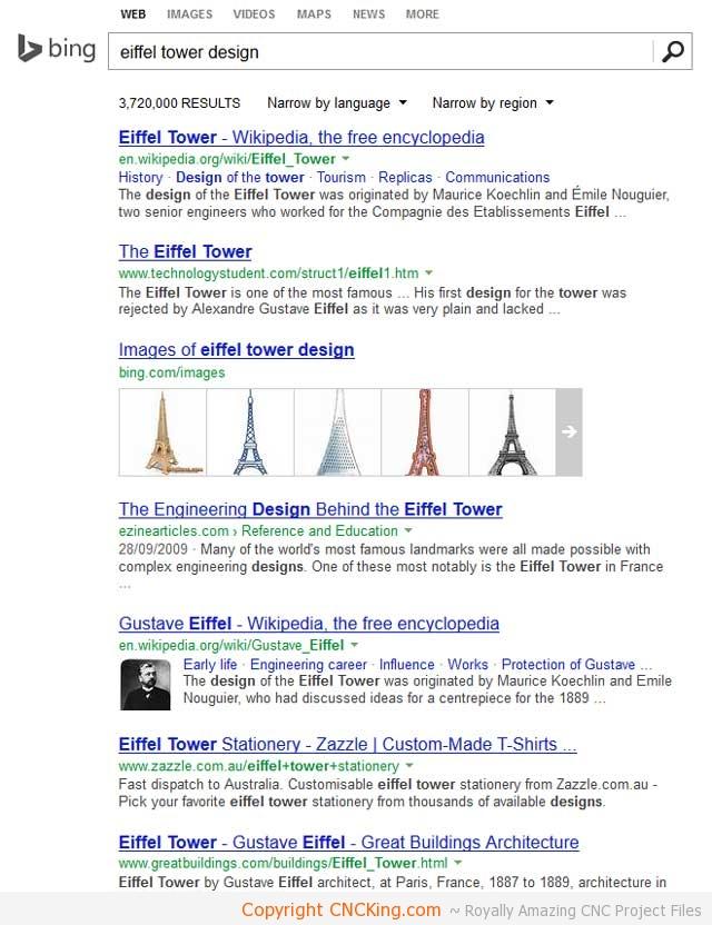 CNCKing com's Laser Cut Eiffel Tower: Number 1 in Bing! - CNCKing com