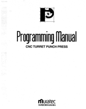 Muratec CNC Turret Punch Press Programming Manual pdf