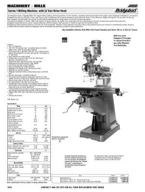 Bridgeport Series 1 Milling Machine with 2J Vari-Drive Head