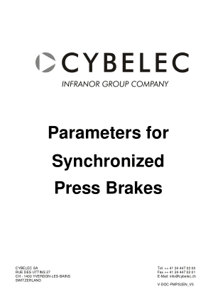 Cybelec Parameters for Synchronized Press Brakes V5.2 pdf