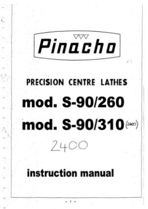 Pinacho S-90/260 2400 Centre Lathe Instruction Manual pdf