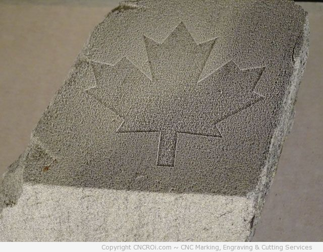 Laser Engraving Concrete Brick with a Maple Leaf