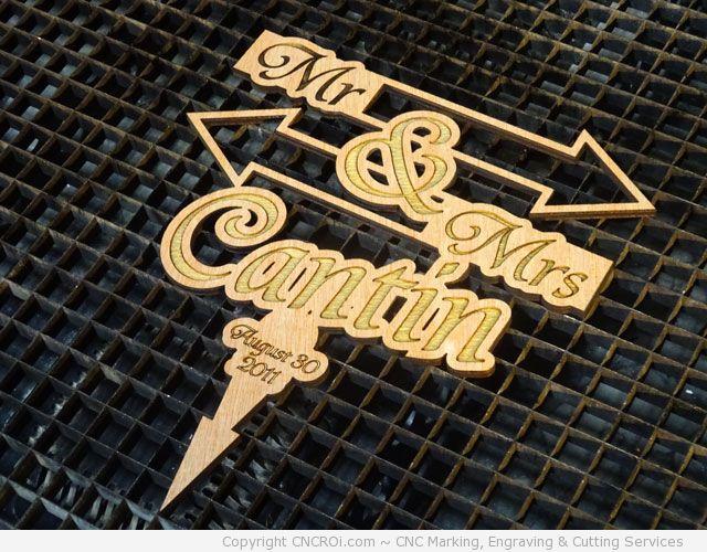 CNC Laser Engraving & Cutting Custom Wedding Cake Toppers -