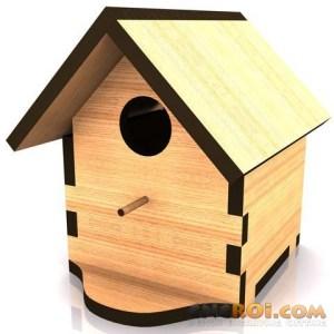 cnc-laser-birdhouse-b Bird House B