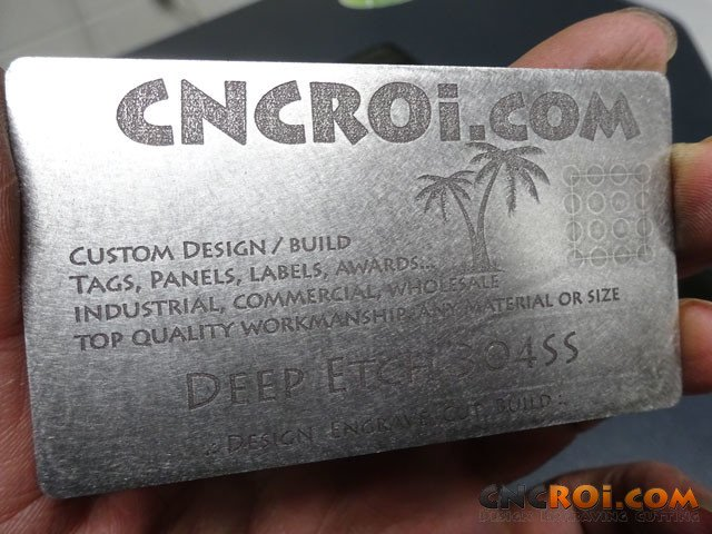annealedbusinesscard 304SS Deep Etched Machine Tag: Etching through Finishing