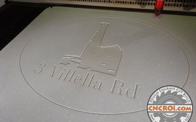 corian-house-number-7 Double Sided Corian Sign: CNC Laser Engraved... customer will finish
