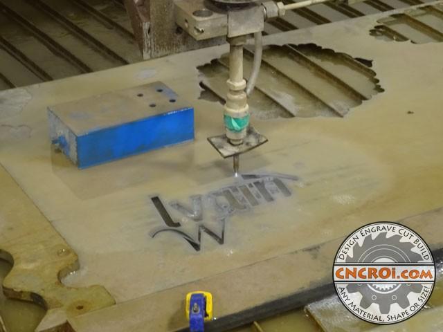 steel-signage-1 Custom Steel Signage: Raw Plate Steel, Waterjet Cut & Enameled
