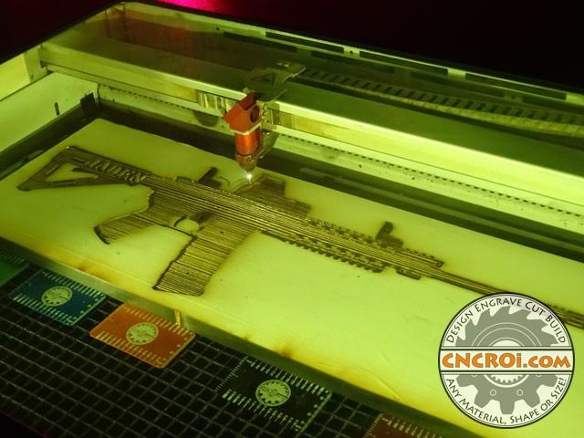 m4-gun-key-holder-1 M4 Carbine Gun Key Holder: CNC Laser + Pine