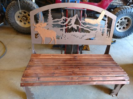 steel bench moose and eagle