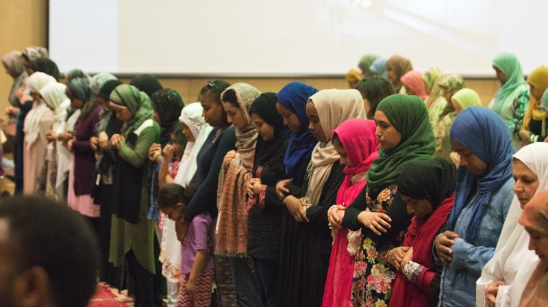 PHOTO COURTESY WHITNEY GOMES - Muslim women align for prayer on the opening night of the Ramadan Tent Project in Tigard.