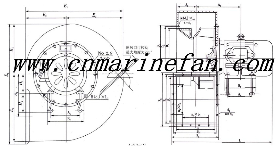 4-72NO.3.6A Centrifugal blower fan