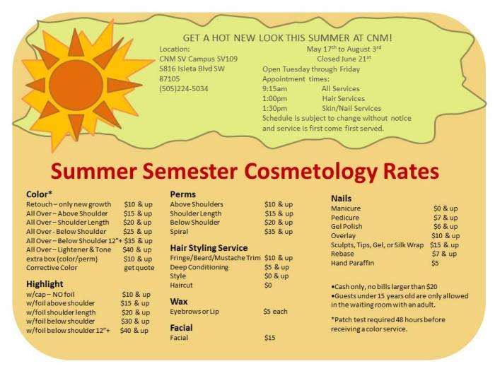 cosmetology rate