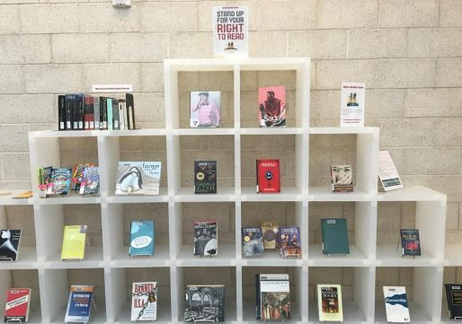 Banned Books display at the main campus library.