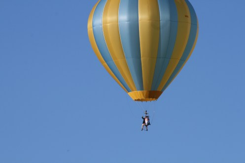 Cloud hopping is when a balloon doesn't have a basket instead there is a small bench or chair for the pilot and riders to sit.