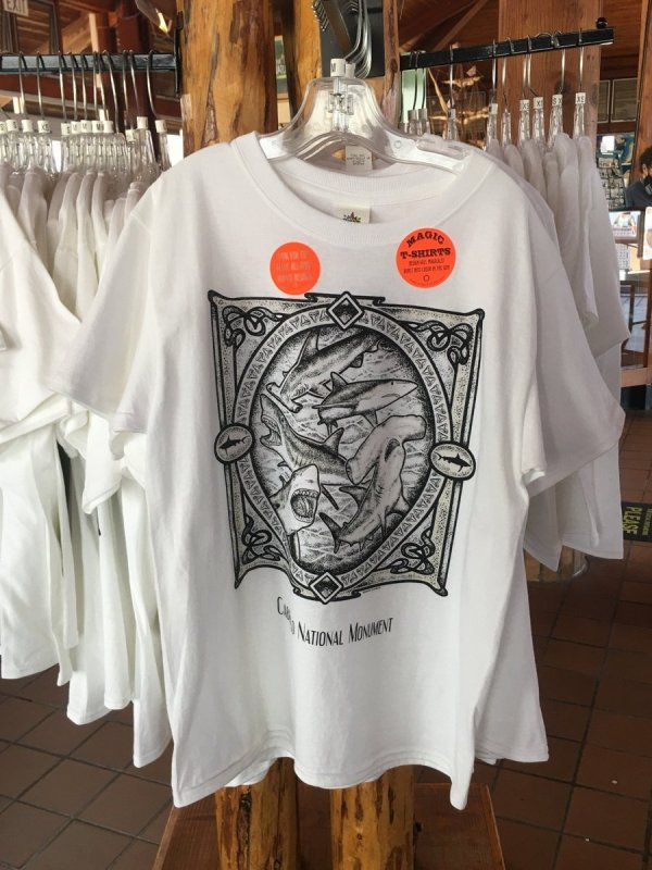 White tshirts with shark drawings on the front.