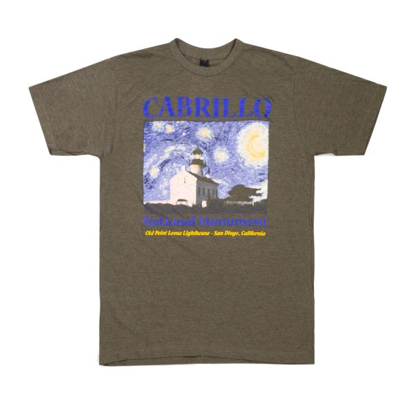Gray-green t-shirt with drawing of Old Point Loma Lighthouse