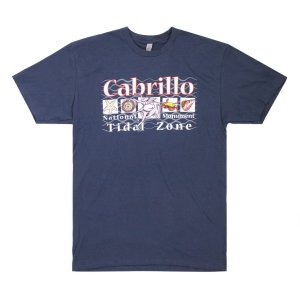 Dark Blue t-shirt with Cabrillo Tidal Zone and drawings of tidepool animals on front.