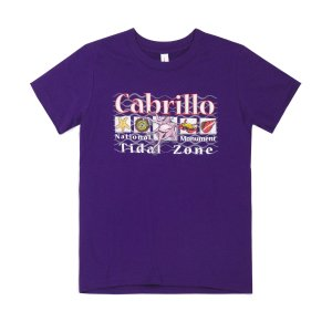 Purple t-shirt with Cabrillo Tidal Zone and drawings of tidepool animals on front.