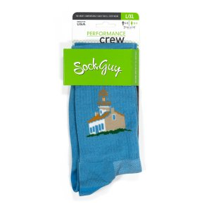 Blue socks with Old Point Loma lighthouse on side