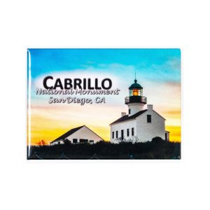 Rectangle magnet with side illustration of Old Point Loma Lighthouse at sunset.