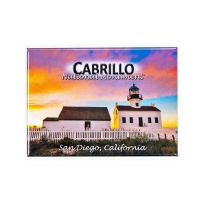 Rectangle magnet with an illustration of the Old Point Loma Lighthouse at sunset