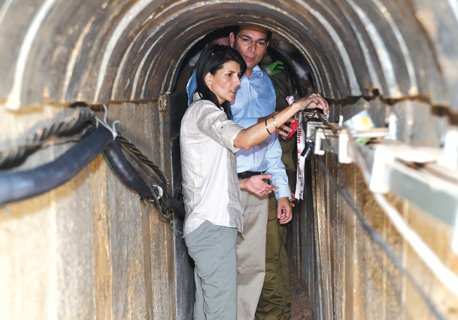 US AMBASSADOR to the United Nations Nikki Haley and Israel's UN envoy Danny Danon, tour a tunnel in June, excavated by Hamas near the Israeli-Gaza border.