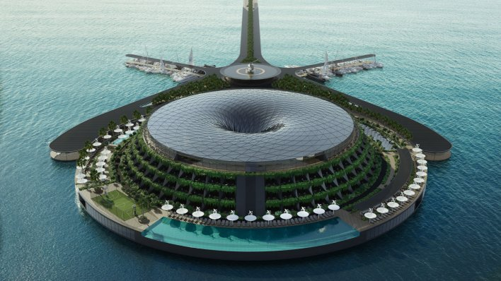 In Qatar .. a concept of a floating, rotating hotel that makes its own electricity could become a reality