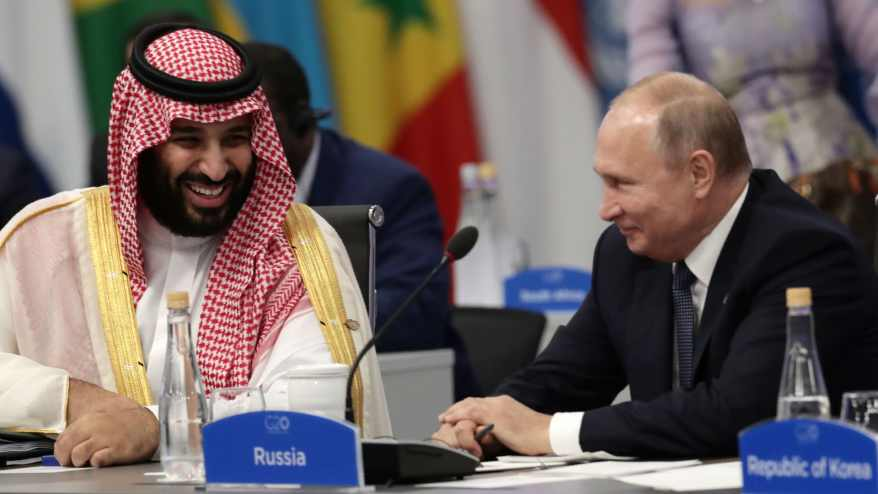 Crown Prince Mohammed bin Salman and Russia's President Vladimir Putin