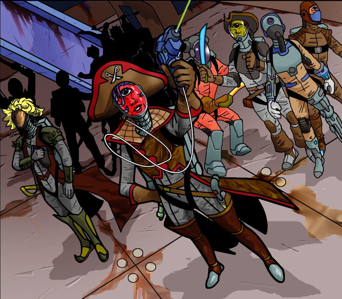 Captain Bala Assta and the Space Way Pirates crew.