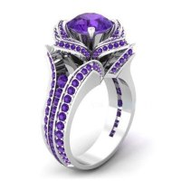 Purple Zircon Filled Engagement Wedding Flower Gemstone