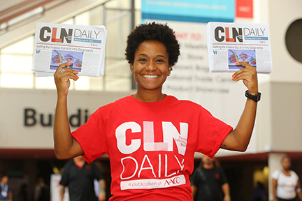 Have your distribution team greet attendees with the show daily wear branded t-shirts that identify the publication they are distributing as official.