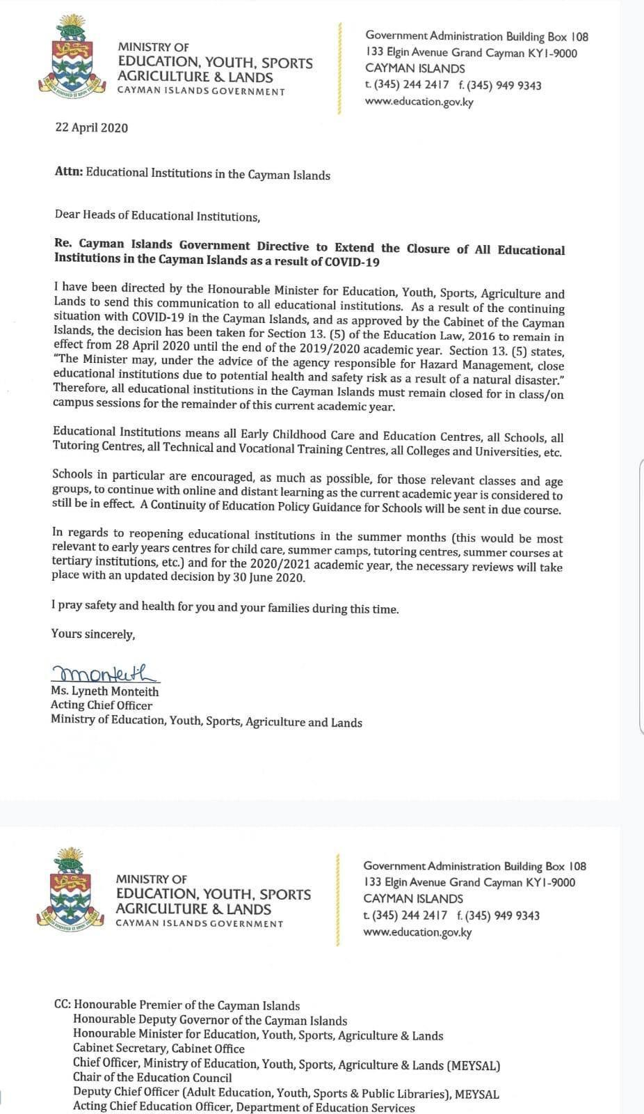 Letter from Education Ministry to Educational Institutions re closure to end of academic year, 22 April 2020