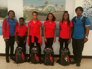 (L-R) Team manager Elizabeth Ibeh; athletes Anthony Chin Jr, Rachell Pascal, Tori-Ann Gonez and Ashantae Graham; and coach Anthony Chin