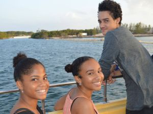 (L-R) Alecia McDonald, Eja Parchment, and Christopher Rivers were among the students on the Mentoring Cayman cruise