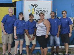 Nassau Re employees with Letty Blanco (centre) from the Humane Society