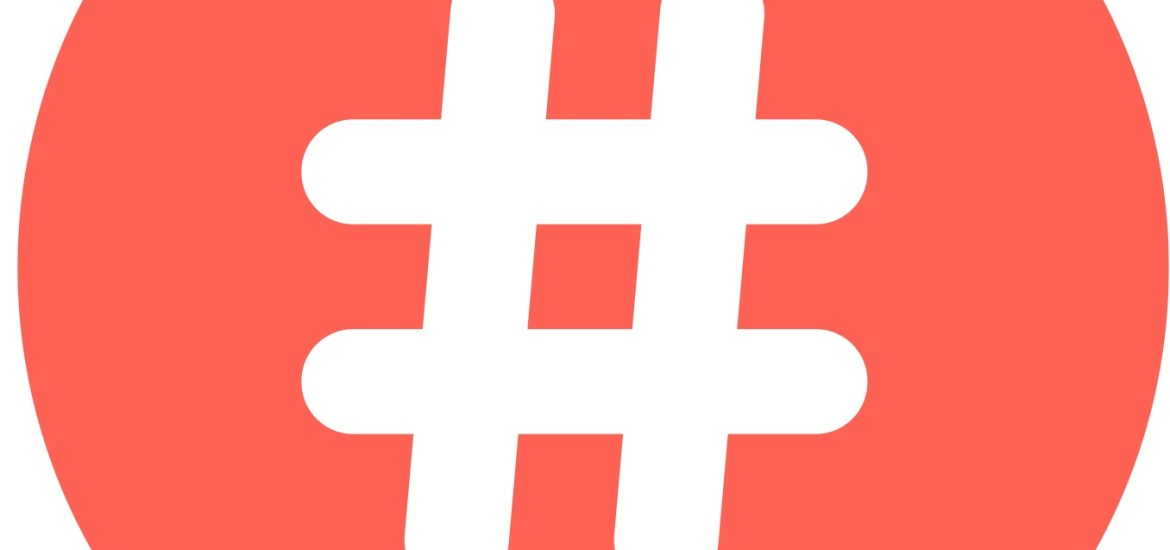 white hashtag icon in red speech bubble. concept of number sign, social media and web communicate. isolated on white background. flat style trendy modern vector illustration. Copyright Pranch (Shutterstock)