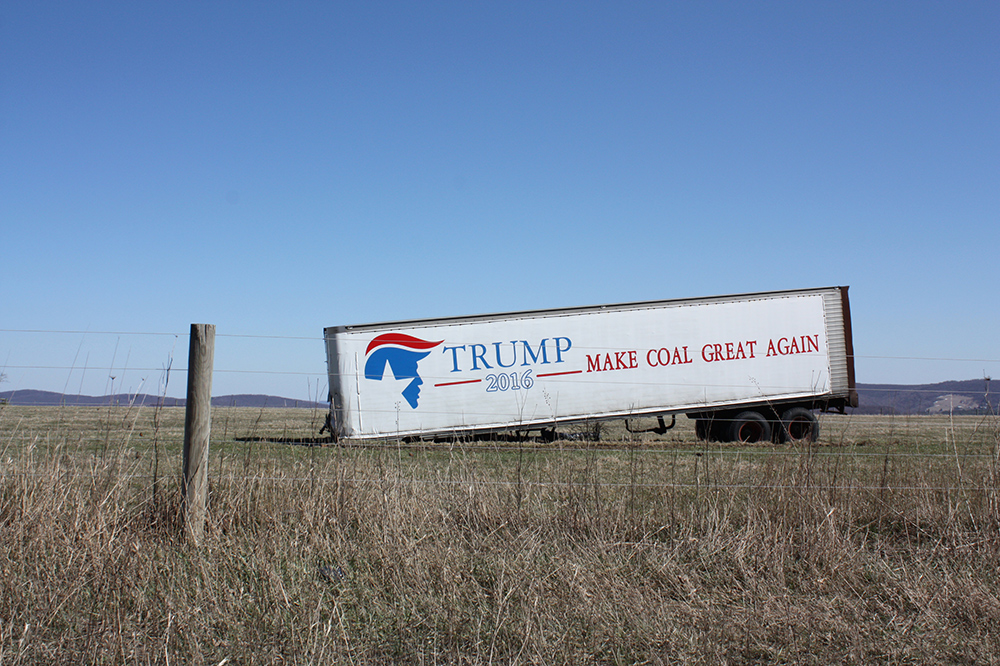 A pro-Trump trailer still sits alongside I-68 in Allegany County. Coal has been mined in western Maryland since the late 1800s, but few believe the area's economic future lies in mining. (Photo by J.F. Meils/Capital News Service.)