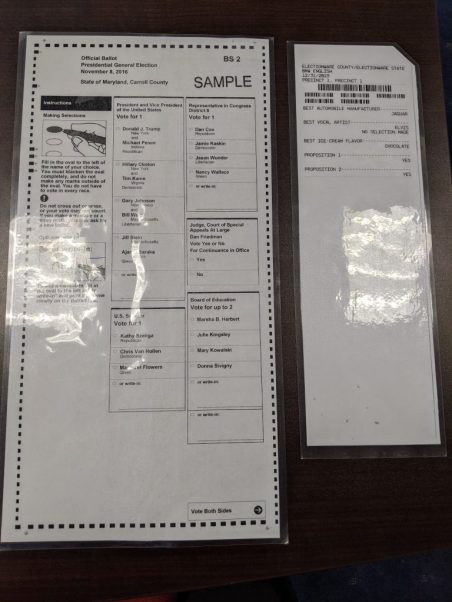 Side-by-side size comparison of a Maryland hand-marked ballot and one produced by a ballot marking device. Photo: Scott Tiffin/Chief of Staff to Senator Clarence Lam, D-Baltimore and Howard counties.