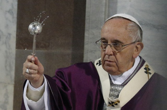Pope Francis celebrates Ash Wednesday Mass at the Basilica of Santa Sabina in Rome Feb. 18. (CNS/Paul Haring)