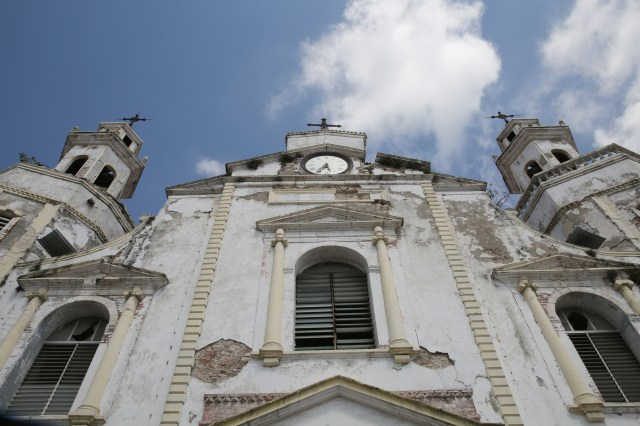 Damage to the facade of the Cathedral of St. James and St. Philip is seen in Jacmel, Haiti, Feb. 12.  (CNS/Bob Roller)