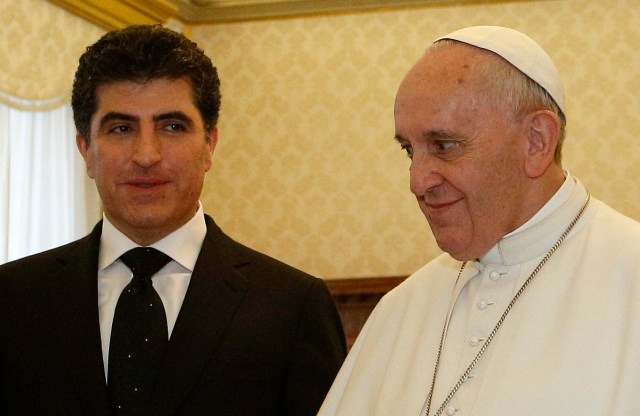 Pope Francis meets Prime Minister Nechirvan Barzani of the Kurdistan Regional Government of Iraq during a private audience at the Vatican March 2. (CNS/Paul Haring)