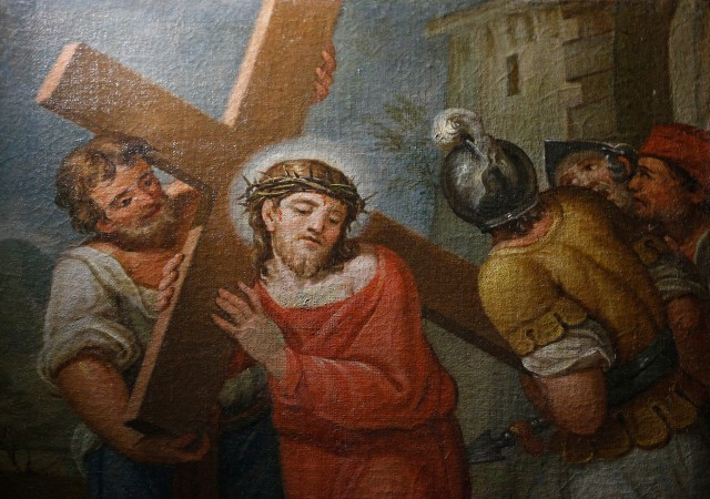 "Unlike this Jesus in a painting in a chapel at the Pontifical Sanctuary of the Holy Stairs in Rome, the savior in ""Killing Jesus"" seems to lack divine inspiration. (CNS/Paul Haring)"