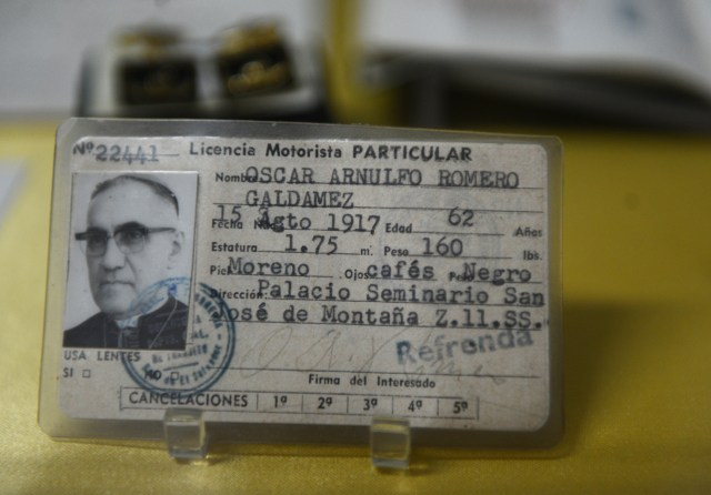 The driver's license of Archbishop Oscar Romero is seen in a San Salvador museum May 21, two days before the beatification of the archbishop. (CNS/Lissette Lemus)