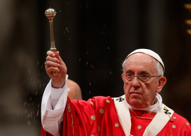Pope Francis celebrates Pentecost Mass in St. Peter's Basilica at the Vatican May 24. (CNS photo/Paul Haring) See POPE-PENTECOST May 24, 2015.