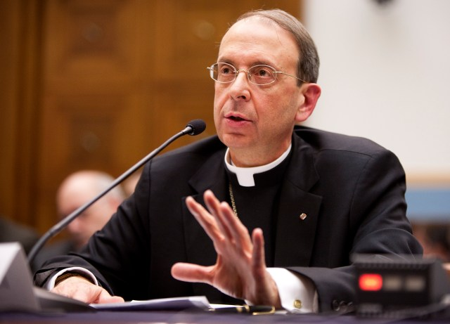 Then-Bishop William C. Lori of Bridgeport, Conn., now archbishop of Baltimore, testifies in 2011 on the protection of religious liberty before a subcommittee of the House Judiciary Committee in Washington. A Vatican official said religious freedom is a key factor in the development of a democratic society. (CNS/Joshua Roberts)