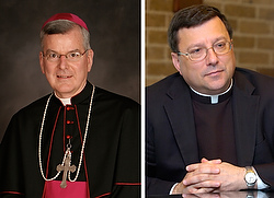 Archbishop John C. Nienstedt, left, and Auxiliary Bishop Lee A. Piche, both of St. Paul and Minneapolis, whose resignations were accepted by Pope Francis July 15. (CNS photos)