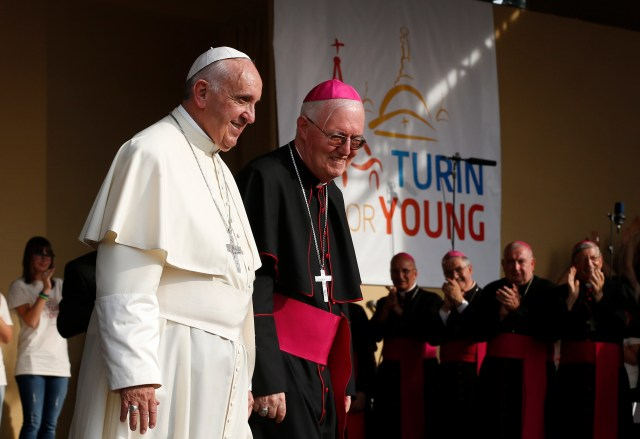Pope Francis and Archbishop Cesare Nosiglia of Turin leave a gathering with young people in Piazza Vittorio in Turin, Italy, June 21. (CNS/Paul Haring)
