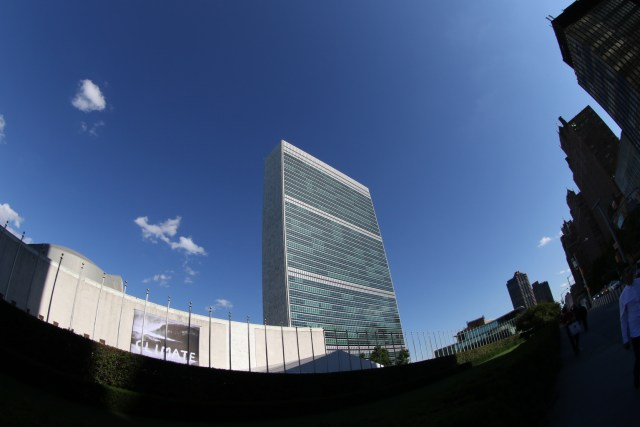 United Nations headquarters in New York City seen through a fisheye lens. Pope Francis will speak there during his Sept. 22-27 visit to the United States. (CNS/Gregory A. Shemitz)
