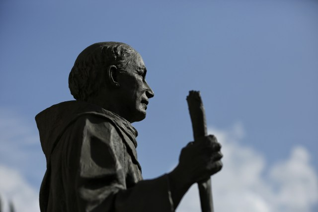 A statue of Blessed Junipero Serra stands outside San Gabriel Mission in early May in San Gabriel, Calif. The first occupants of the mission were the Tonga, called the Gabrieleno by the early missionaries. Today, an active diverse parish celebrates nine Sunday Masses, five in English, three in Spanish and one in Vietnamese. (CNS/Nancy Wiechec)