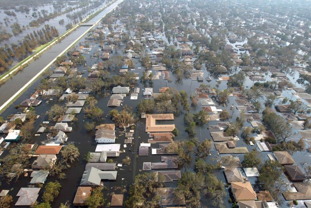 Houses in New Orleans are seen under water Sept. 5, 2005, after Hurricane Katrina swept through Louisiana, Mississippi and Alabama. More than a decade after the storm, New Orleans continues to rebuild. (CNS/Reuters)